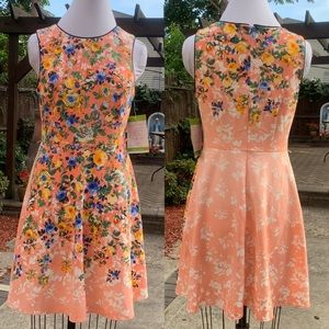 London Times Floral Fit and Flare Dress